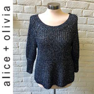 Alice + Olivia black & silver crew neck sweater XS